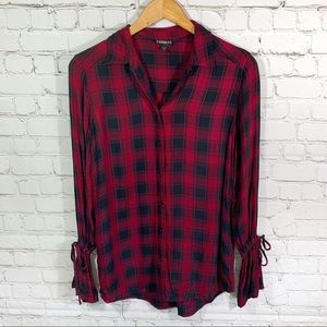 Express Red & Black Plaid Bell Sleeve Button Down